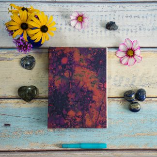 Hand Bound A5 Journal with Original Wet Cyanotype Print Covers … Daisies in the Pink