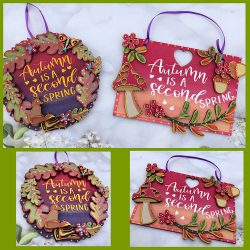 Autumn hangings with fox & toadstool