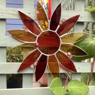 Stained glass sunflower with ladybird and bead embellishment