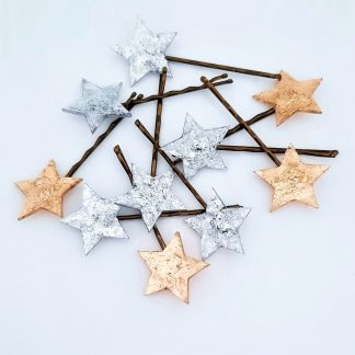 Gold and silver star hair pins and grips