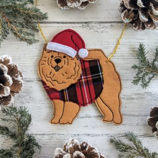 Christmas dog decoration of a chow chow.