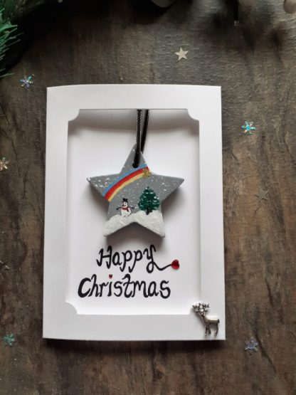 Christmas decoration and card in one-Christmas star and card-Christmas keepsake card