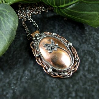 Antiqued Copper Seed Head Pendant