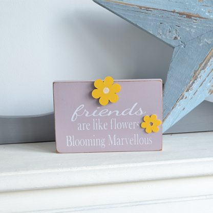 Friends are like flowers pink and yellow wooden magnetic flower photo holder by LouLou & Reg
