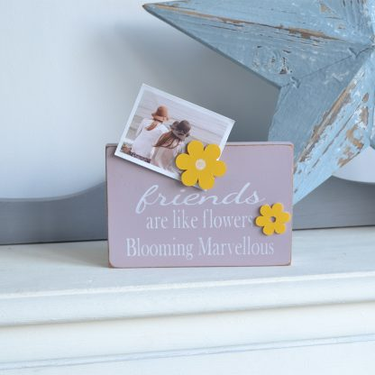 Friends are like flowers handmade pink and yellow wooden magnetic flower photo holder by LouLou & Reg