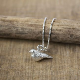 Handcrafted Robin on sterling silver jump ring