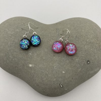 Ripple texture dichroic glass dangly earrings