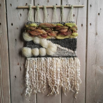 wall hanging made with natural fibres Teeswater curls and textiles