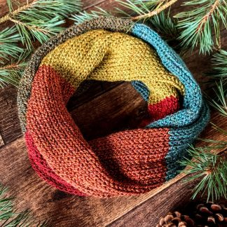 Knitted colour block infinity scarf in autumn tweed shades