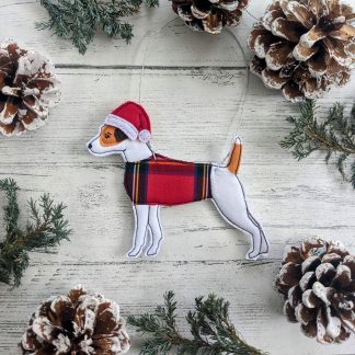 Christmas tree decoration of a Jack Russell terrier dog.