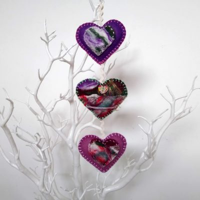 Needle Felted Trio of Hearts Hanging Decoration by Oh Sew Creative