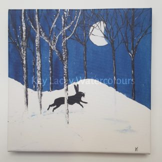 Art canvas featuring Hare and Moon print