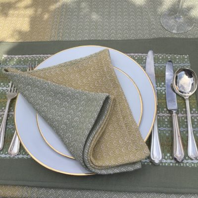 Table Napkins Olive and Gold