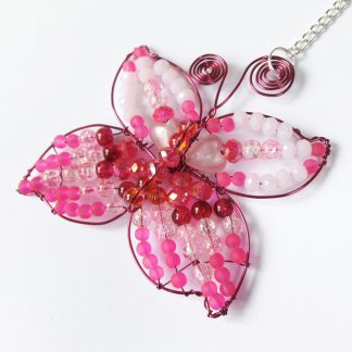 Bright Pink Crystal Butterfly Hanging Suncatcher
