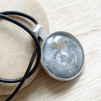 grey and gold hand painted pendant