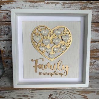 heart shaped family tree painted gold in deep box frame