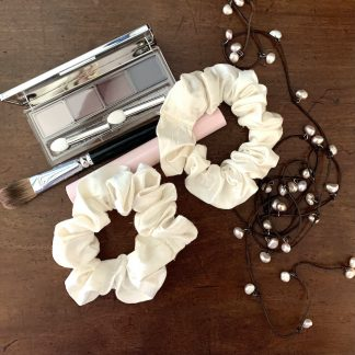 silk scrunchies set of 2 - upcycled from my wedding dress