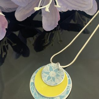 duck egg and lime aluminium necklace