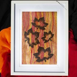 Autumn Falling Leaves Needle felted art work - front