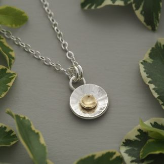 Hand forged argentium sterling silver and 18ct gold sun ray concave disc pendant necklace 12mm