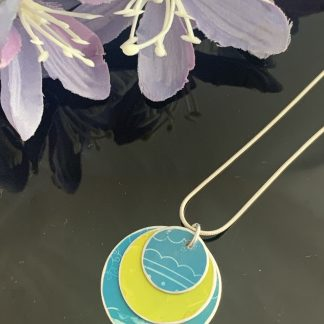 Water colour collection - hand painted aluminium pendant, apple green and teal