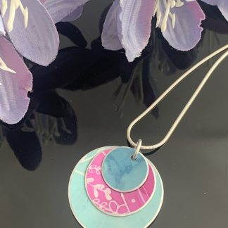 Hand painted aluminium pendant- duck egg, teal and purple