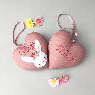 Personalised pink bunny face heart decoration