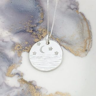 Sterling Silver Pendant hand stamped with the sea, stars and a amoon