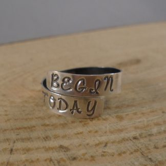 sterling silver adjustable ring, hand stamped with begin today
