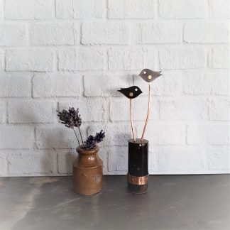 What a pair copper birds ornament made by anthea yeo metal art