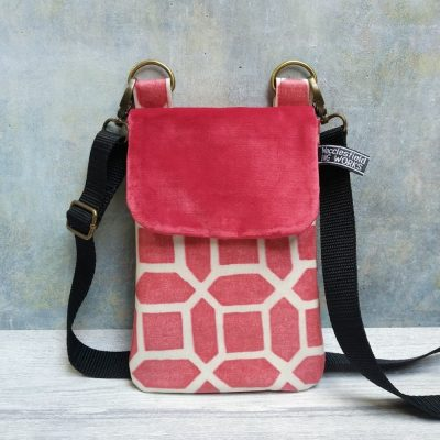Red geo print oilcloth and red velvet phone case cross body bag with black strap